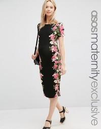 Облегающее платье для беременных с цветочным принтом ASOS Maternity