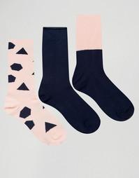 Набор из 3 пар носков с геометрическим рисунком ASOS - Мульти