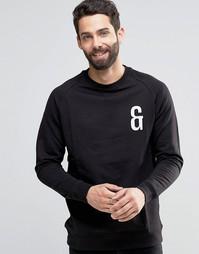 Свитшот с круглым вырезом и вышивкой на груди Only & Sons - Черный