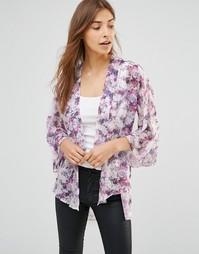 Кимоно с цветочным принтом Oh My Love - Фиолетовый