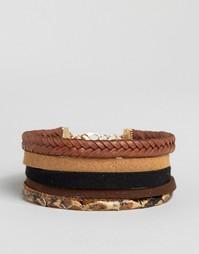 Набор браслетов с эффектом змеиной кожи ASOS - Коричневый