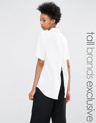 Рубашка с короткими рукавами и запахом Adpt Tall - Белый