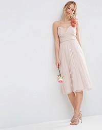 Присборенное платье миди с ремешком для цветка ASOS WEDDING - Телесный