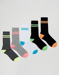 5 пар носков с неоновыми полосками ASOS - Черный