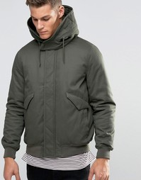 Куртка цвета хаки с капюшоном на подкладке Borg от ASOS - Хаки