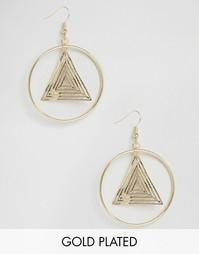 Позолоченные серьги‑подвески с кольцами Nylon - С золотым покрытием