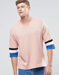 Трикотажная футболка с рукавами 3/4 ASOS - Розовый