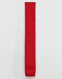 Бордовый вязаный галстук 7X - Красный