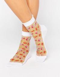 Носки с прозрачными вставками и цветочным рисунком ASOS - Белый