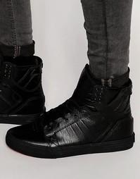 Классические кожаные кроссовки Supra Skytop - Черный