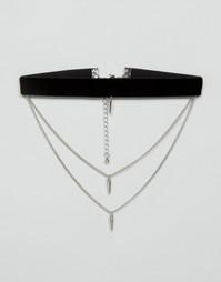 Ожерелье-чокер в несколько рядов с бархатной лентой ASOS - Родий