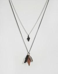 Два ожерелья с подвесками Icon Brand - Черный