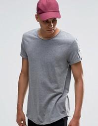 Удлиненная футболка с необработанными краями Esprit - Серый 035