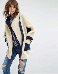Плюшевое пальто-кокон Maison Scotch - 36 кремовый