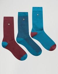 3 пары черных носков из хлопка и модала с пяткой в полоску Feraud