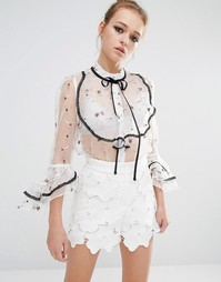 Прозрачная блузка с цветочным принтом и завязкой Sister Jane - Белый