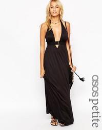 Трикотажное пляжное платье макси с лямкой через шею ASOS PETITE