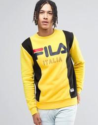 Черный свитшот в стиле ретро Fila - Желтый
