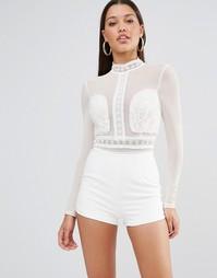 Ромпер с кружевной отделкой и вышивкой Missguided - Белый