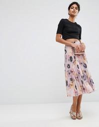 Плиссированная юбка миди с цветочным принтом ASOS - Мульти