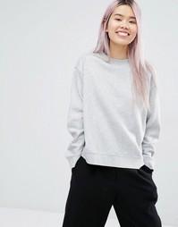 Трикотажный oversize-свитшот Monki - Серый