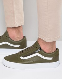 Vans Old Skool Leather Zip Trainers In Green V0018GJTJ - Зеленый