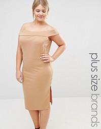 Платье-футляр с разрезом сбоку Pink Clove - Бежевый