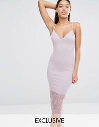 Платье миди с кружевной кромкой Missguided - Сиреневый