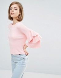 Lost Ink Frill Sleeve Jumper - Розовый