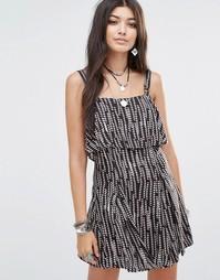 Платье с верхним слоем Free People Paper Flowers - Черный комбо