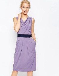Синее платье-футляр со свободным воротом Closet - Сиреневый