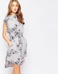 Удлиненное платье‑рубашка с цветочным принтом Closet - Серый и черный