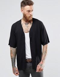 Черная рубашка с Y‑образной горловиной и укороченными рукавами ASOS