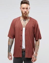 Рубашка классического кроя с Y-образной горловиной и укороченными рука Asos
