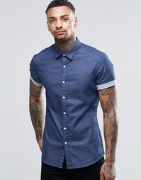 Темная джинсовая рубашка в горошек с короткими рукавами ASOS