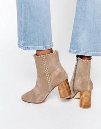 Замшевые ботинки с декоративной строчкой ASOS RAINE - Серо-коричневый