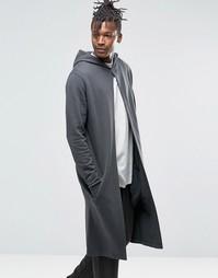 Удлиненное худи в стиле casual с разрезом спереди ASOS - Черный