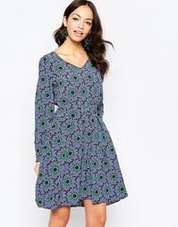 Платье с длинными рукавами и цветочным принтом Closet - Фиолетовый