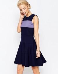 Трапециевидное платье с контрастной вставкой Closet - Фиолетовый