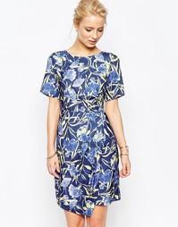 Платье с цветочным узором и запахом на юбке Closet - Мульти