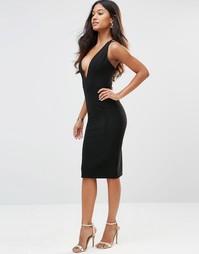 Платье в рубчик с глубоким вырезом и бретельками сзади Rare - Черный