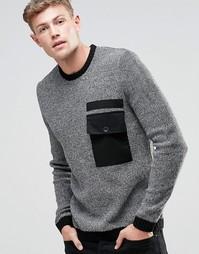 Джемпер с круглым вырезом и контрастным тканым карманом ASOS