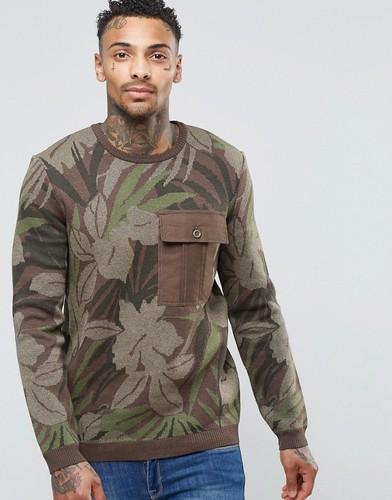 Джемпер с цветочным принтом и контрастным карманом ASOS - Зеленый