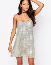 Платье-сорочка Motel Meadow - Золотистая фольга, меланжевый