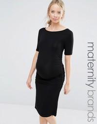 Платье-футболка с драпировкой Isabella Oliver - Черный