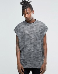 Oversize-футболка из фактурной ткани в рубчик без рукавов ASOS