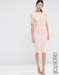 Кружевное платье-футляр миди с укороченным топом ASOS TALL - Телесный