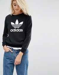 Свитшот с логотипом‑трилистником adidas Originals - Черный