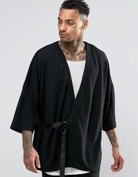 Фактурное кимоно с поясом ASOS - Черный