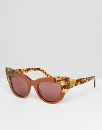 Солнцезащитные очки кошачий глаз ASOS Premium - Коричневый
